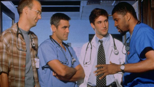 Clooney appears in a scene from the long-running hospital drama 'ER.'