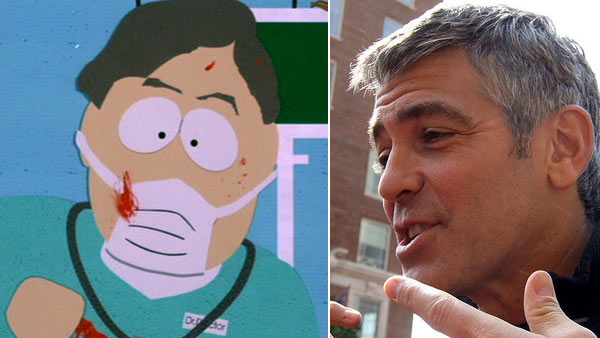 Clooney's character Dr. Gouache appears in a scene from the 1999 film 'South Park: Bigger Longer and Uncut.' / Clooney appears in a photo at The Westin Poinsett Hotel in South Carolina in 2008.