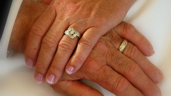 A photo of two people's wedding rings.