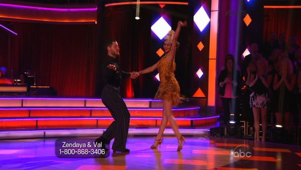 &#39;Shake It Up&#39; actress Zendaya Coleman and her partner Val Chmerkovskiy received received 26 out of 30 points from the judges for their Jive routine on week 2 of &#39;Dancing With The Stars,&#39; which aired on March 25, 2013. They received a total of 50 out of 60 points for the past two weeks of performances.  <span class=meta>(ABC Photo)</span>