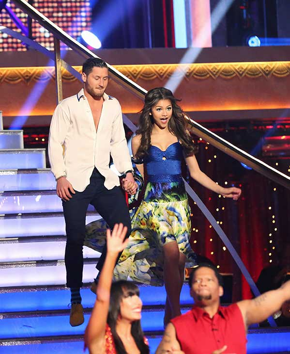 'Shake It Up' actress Zendaya Coleman and her partner Val Chmerkovskiy prepare to dance on the season 16 premiere of 'Dancing With The Stars,' which aired on March 18, 2013. They received 24 out of 30 points from the judges for their Contemporary routine.