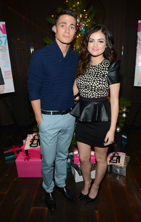 Actor Colton Haynes and cover girl Lucy Hale attend the launch party for Nylon Magazine's December/January 2013 issue at The Wine Gallery at The Andaz West Hollywood on Dec. 7, 2012.