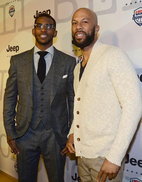 Common and NBA star Chris Paul attend the launch of the 2012 Jeep Wrangler Unlimited Altitude Edition at the Los Angeles Center Studios on April 22, 2012. Jeep is a sponsor of USA Basketball. Celebrities shot baskets at the Pop-a-Shot and danced to beats spun by DJ Biz Markie. <span class=meta>(WireImage &#47; Chris Weeks)</span>