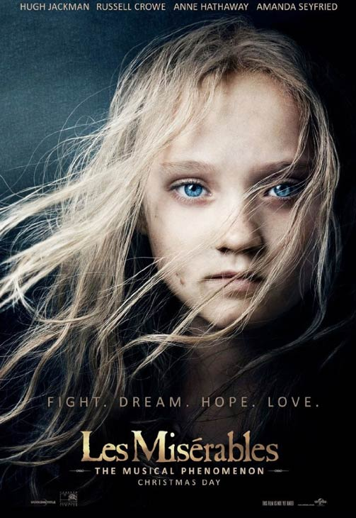 Isabelle Allen appears as young Cosette, recreating the iconic 'Les Miserables' po