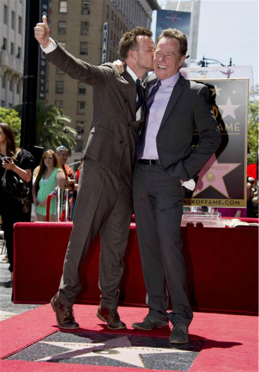The time Bryan Cranston was kissed by &#39;Breaking Bad&#39; co-star Aaron Paul at the unveiling of his star on the Hollywood Walk of Fame on July 16, 2013. The AMC show ended in October after five seasons. <span class=meta>(Lionel Hahn &#47; Abacausa &#47; Startraksphoto.com)</span>