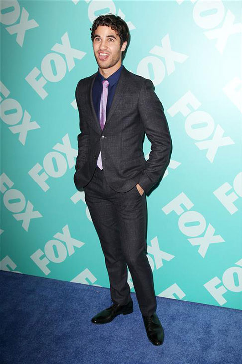 "<div class=""meta image-caption""><div class=""origin-logo origin-image ""><span></span></div><span class=""caption-text"">Darren Criss of 'Glee' goofs around at FOX's 2013 Upfront Presentation in New York on May 13, 2013. (Kristina Bumphrey / Startraksphoto.com)</span></div>"