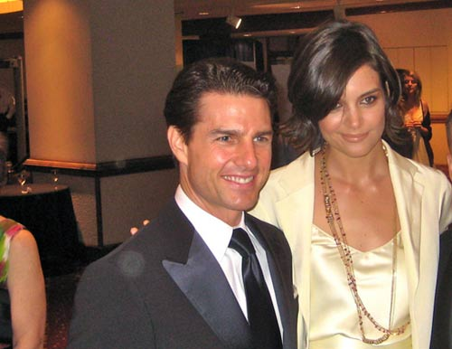 Katie Holmes and Tom Cruise appear in a photo from the White House Correspondents Association Dinner on May 9, 2009.
