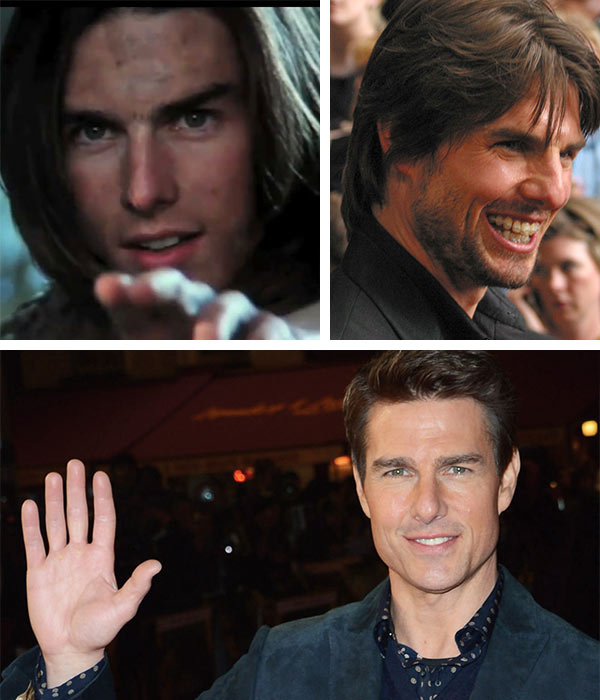 Tom Cruise appears in a scene from the 1985 movie 'Legend.' / Tom Cruise attends the premiere of 'Minority Report' in New York on June 17, 2002. / Tom Cruise attends the premiere of 'Jack Reacher' in London on Dec. 10, 2012.