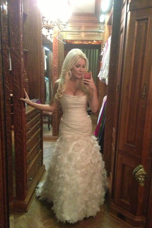 Crystal Harris posted on Twitter this photo of herself in her pale pink &#39;mermaid&#39; wedding gown on Dec. 31, 2012, the day she wed Playboy founder Hugh Hefner at the Playboy Mansion. <span class=meta>(twitter.com&#47;CrystalHarris&#47;status&#47;286048959837900801 &#47; img.ly&#47;rqs0)</span>