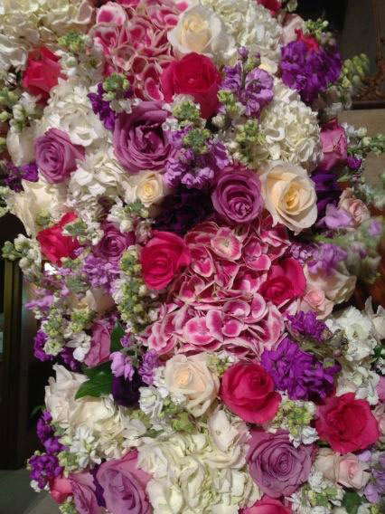 Crystal Harris posted on Twitter this photo of her wedding flowers on Dec. 31, 2012, the day she wed Hugh Hefner at the Playboy Mansion.