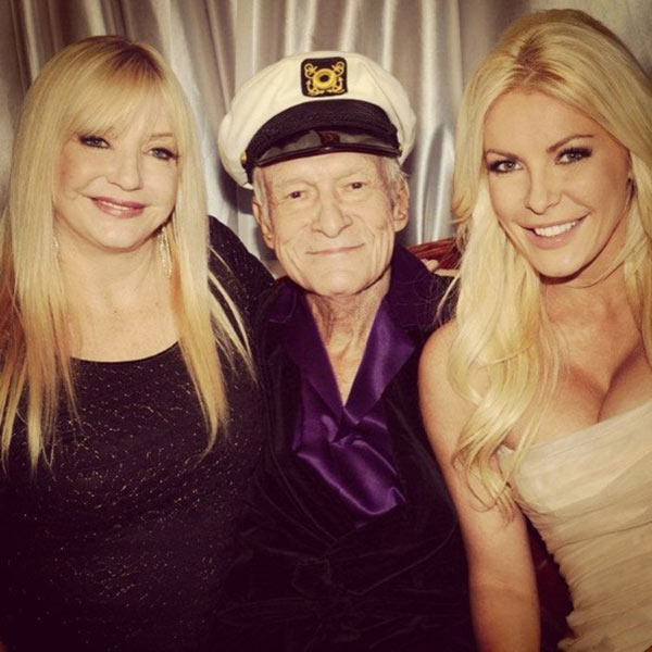 Crystal Harris posted on Twitter this photo of herself with new husband Hugh Hefner and her mother, Lee Lovitt, after her wedding at the Playboy Mansion on Dec. 31, 2012. <span class=meta>(twitter.com&#47;CrystalHarris&#47;status&#47;2860486848509624321 &#47;  img.ly&#47;rqrV)</span>