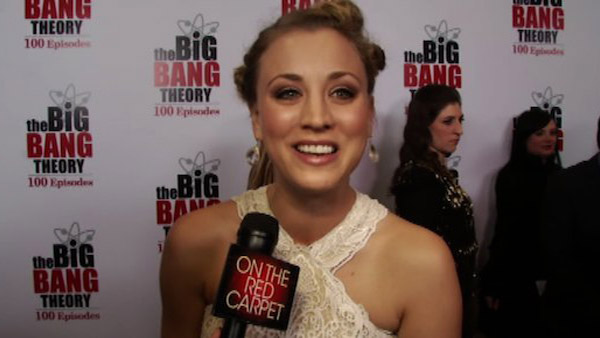 Kaley Cuoco talks to OnTheRedCarpet.com on Dec. 15, 2011 at a Los Angeles party to celebrate the 100th episode of CBS series 'The Big Bang Theory.'