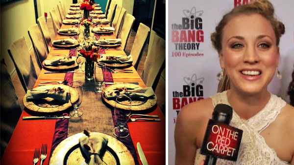 Kaley Cuoco of the CBS sitcom &#39;The Big Bang Theory&#39; Tweeted this Instagram photo of a Thanksgiving dinner table on Nov. 22, 2012, saying: &#39;Table is ready!! &#40;Thank you, Dannielle&#41; Happy Thanksgiving!&#39;  Pictured right: Kaley Cuoco talks to OnTheRedCarpet.com on Dec. 15, 2011 at a Los Angeles party to celebrate the 100th episode of CBS series &#39;The Big Bang Theory.&#39; <span class=meta>(twitter.com&#47;KaleyCuoco&#47;status&#47;271625688388358145 &#47; instagr.am&#47;p&#47;SVe3MtuWQb&#47;)</span>