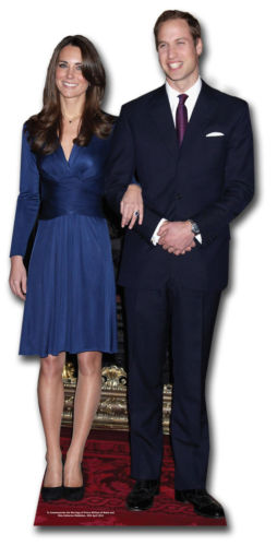A cutout of Prince William and Kate Middleton's...