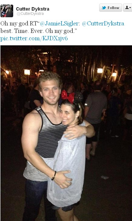 Jamie-Lynn Sigler and Washington Nationals infielder Cutter Dykstra appear in Disneyland on March 4, 2012, as seen in this photo posted on the baseball player&#39;s Twitter page. <span class=meta>(twitter.com&#47;CutterDykstra&#47;status&#47;176517740725678080&#47;photo&#47;1)</span>