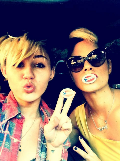 Pop star and actress Miley Cyrus endorsed President Barack Obama in a Tweet posted on Election Day on Nov. 6, 2012 and also posted a photo of herself and makeup artist Denika Bedrossian sporting &#39;I Voted&#39; stickers, saying: &#39;@realdenikab dolls that vote together stay together.&#39; <span class=meta>(twitter.com&#47;MileyCyrus&#47;status&#47;265938684384272385)</span>