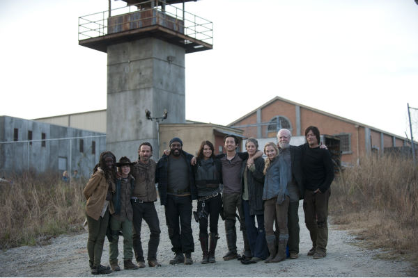 Danai Gurira &#40;Michonne&#41;, Chandler Riggs &#40;Carl Grimes&#41;, Andrew Lincoln &#40;Rick Grimes&#41;, Chad L. Coleman &#40;Tyreese&#41;, Lauren Cohan &#40;Maggie Greene&#41;, Steven Yeun &#40;Glenn Rhee&#41;, Melissa McBride &#40;Carol Peletier&#41;, Emily Kinney &#40;Beth Greene&#41;, Scott Wilson &#40;Hershel Greene&#41; and Norman Reedus &#40;Daryl Dixon&#41; appear on the prison set of AMC&#39;s &#39;The Walking Dead&#39; season 4. The finale aired on March 30, 2014. <span class=meta>(Gene Page &#47; AMC)</span>