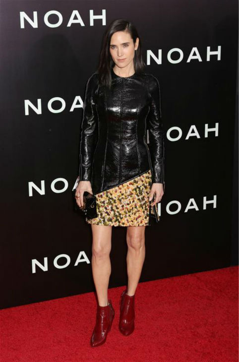 "<div class=""meta ""><span class=""caption-text "">Jennifer Connelly and Russell Crowe appear at the premiere of 'Noah' in New York on March 26, 2014. The actress, who is wearing a custom-made Louis Vuitton leather and yellow tweed mini-dress, plays Noah's wife, Naameh, in Darren Aronofsky's movie. (Abaca / Startraksphoto.com)</span></div>"