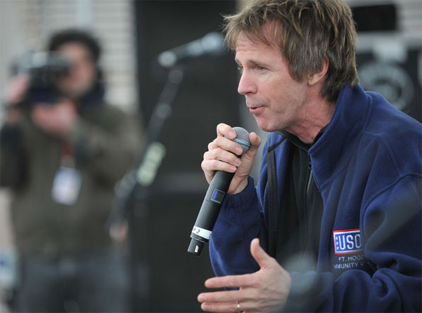 Dana Carvey acts as Master of Ceremonies at an event at Ft. Hood in December 2009.