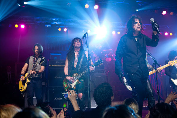 Johnny Depp, Alice Cooper and Kerri Kelly appear in concert at the premiere party for Warner Bros. Pictures' and Village Roadshow Pictures' 'Dark Shadows,' a Warner Bros. Pictures release, in Hollywood.