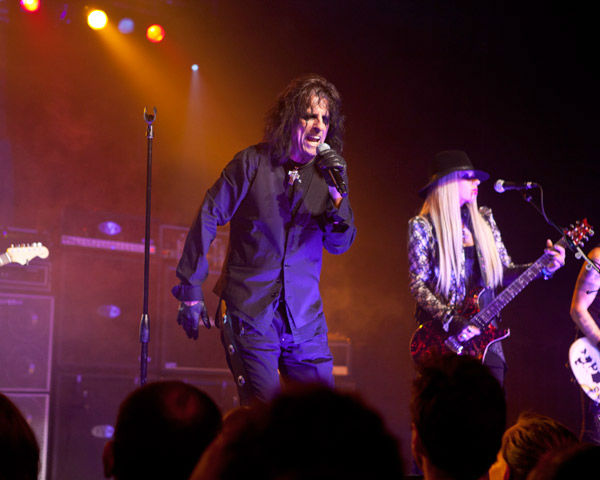 Alice Cooper and band mates Orianthi and Tommy Henriksen and appear in concert at the premiere party for Warner Bros. Pictures and Village Roadshow Pictures' 'Dark Shadows,' a Warner Bros. Pictures release, in Hollywood.