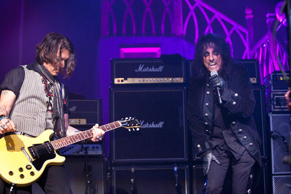 Johnny Depp and Alice Cooper appear in concert...