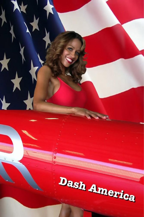Stacey Dash appears in a patriotic backdrop,...