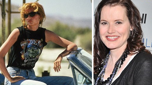 Geena Davis played naive but brave Thelma in the 1991 film &#39;Thelma and Louise&#39; alongside Susan Sarandon, who played her friend Louise and Brad Pitt, who played a paroled robber who befriends the two as they go on the run after shooting a man who tried to assault Thelma.  Since the film was released, Davis starred movies such as the 1992 baseball drama &#39;A League of Our Own,&#39; the 1995 movie &#39;Cutthroat Island&#39; and the &#39;Stuart Little&#39; children&#39;s films. In 2000, she starred in her own television series, &#39;The Geena Davis Show,&#39; which ended a year later.  Davis also played the U.S. president in the television show &#39;Commander In Chief,&#39; which ran between 2005 and 2006. Her last major role was in 2009, when she starred in the comedy film &#39;Accidents Happen.&#39; Two years earlier, she launched the Geena Davis Institute on Gender in Media, which aims to discourage stereotyping of women in the entertainment industry. Davis was married to Richard Emmolo between 1982 and 1983 and to actor Jeff Goldblum - with whom she starred in three films - between 1987 and 1990. Davis married &#39;Cutthroat Island&#39; and &#39;Die Hard 2&#39; director Renny Harlin in 1993 and the two divorced in 1998. In 2001, Davis married Reza Jarrahy, a plastic surgeon. They have three children - Alizeh, who was born in 2002, and twin sons , Kian and Kaiis, who were born in 2004.    &#40;Pictured: Geena Davis appears in a scene from the 1991 movie &#39;Thelma and Louise.&#39; &#47; Geena Davis appears at Toronto&#39;s Roy Thomson Hall on June 7, 2011 to celebrate the 20th anniversary of &#39;Thelma and Louse.&#39;&#41;       <span class=meta>(twitpic.com&#47;58mqhk &#47; Pathe Entertainment &#47; MGM)</span>
