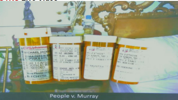 Oct. 5, 2011: During Conrad Murray&#39;s involuntary manslaughter trial, L.A. Coroner&#39;s Office investigator Elissa Fleak identified items she recovered from the bedroom where Michael Jackson was found lifeless. Pictured: Bottles of prescription medications she said she saw inside a wicker basket on a nightstand by the bed.  There is a bottle of Clonazepam, used to control seizures, that was made out to &#39;Mick Jackson&#39; and was prescribed by the singer&#39;s former doctor, Allan Metzger, and filled on April 18, 2009. Metzger is also named as the prescribing physician on another bottle, which contains the antidepressant Trazodone, which made out to &#39;Mick Jackson&#39; as well and filled on the same date. A third bottle contains Temazepam, which is used to relieve panic attacks, and was filled on Dec. 22, 2008. A third bottle contains Tizanidine, which was made out to &#39;Omar Arnold&#39; and was prescribed by Jackson&#39;s dermatologist, Arnold Klein on June 7, 2009. The drug is used to relieve spasms and increased muscle tone typically caused by multiple sclerosis.  <span class=meta>(OTRC)</span>