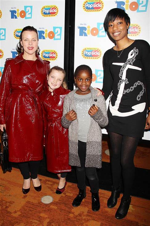 Debi Mazar and daughter Giulia appear with Mercy James Ciccone, Madonna's daughter, and her nanny at Twentieth Century Fox's 'Rio 2' event in New York on March 30, 2014.