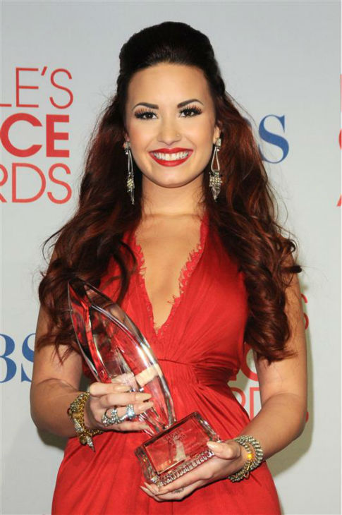 "<div class=""meta ""><span class=""caption-text "">Demi Lovato appears backstage at the 2012 People's Choice Awards on Jan. 11, 2012. She won Favorite Pop Artist. (Kyle Rover / Startraksphoto.com)</span></div>"
