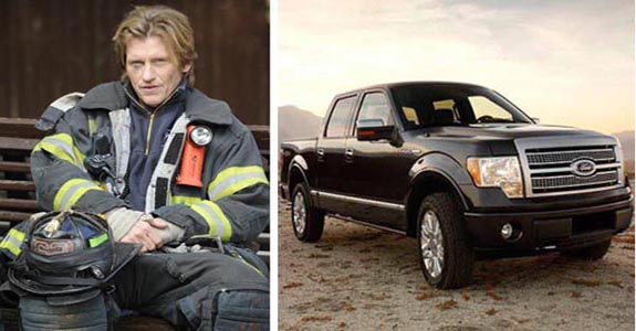 Denis Leary in a scene from 'Rescue Me.'/ The 2009 Ford F-150, the specific car Leary endorsed.