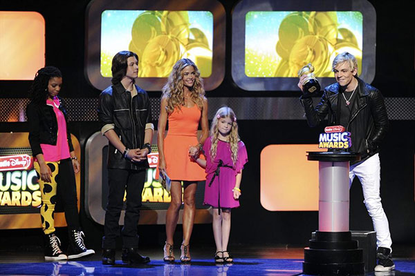 Denise Richards, daughter Lola, 7, Chloe Bailey, Leo Howard and Ross Lynch &#40;right&#41; appear on stage at the 2013 Radio Disney Music Awards at the Nokia Theatre L.A. Live on April 27, 2013. The event will air on the Disney Channel and on Radio Disney on May 4. Richards guest starred on the Disney Channel show &#39;Kickin&#39; It&#39; in 2012. <span class=meta>(Disney Channel &#47; Michael Yada)</span>