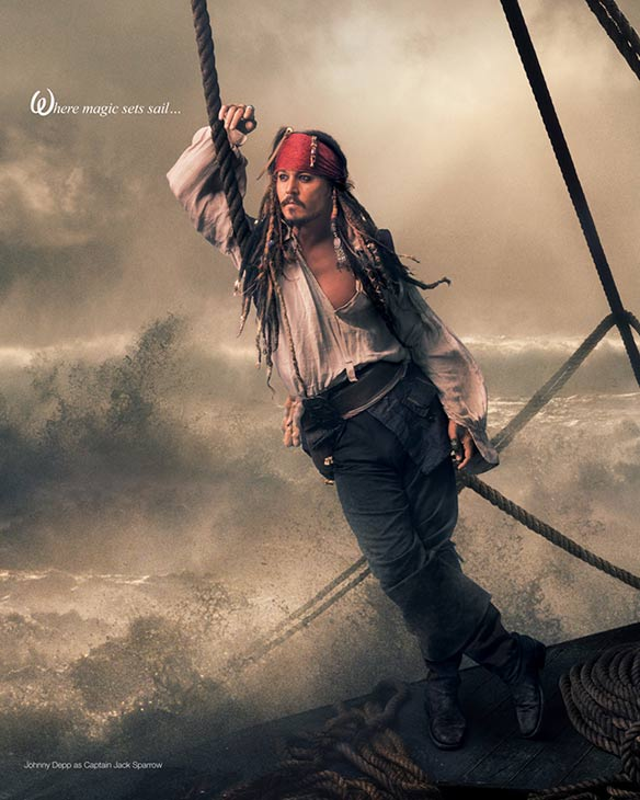 Johnny Depp plays Captain Jack Sparrow in Annie Leibowitz's Disney Dream Dream Portraits series.