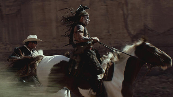 Johnny Depp and Armie Hammer appear as Tonto and The Lone Ranger in a scene from Walt Disney's 2013 movie 'The Lone Ranger.'