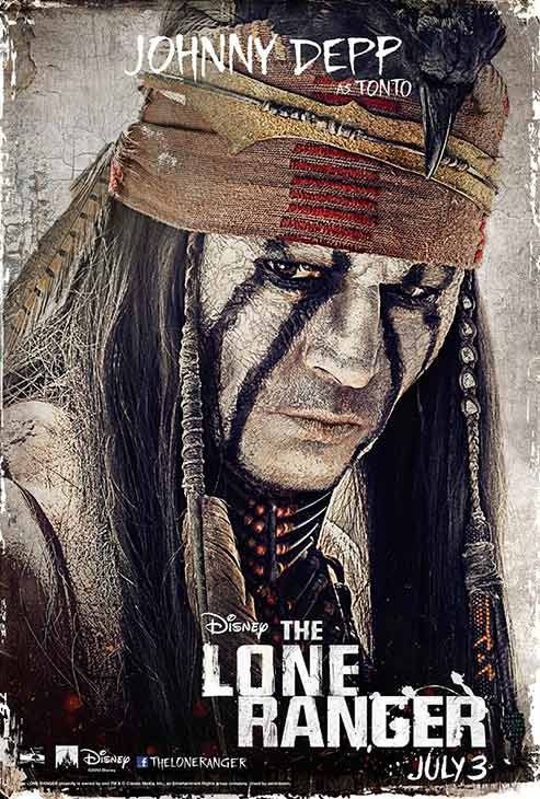 Johnny Depp appears in an official poster for Walt Disney's 2013 movie 'The Lone Ranger.'