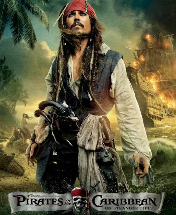 Johnny Depp appears as Captain Jack Sparrow on a poster for 'Pirates of the Caribbean: On Stranger Tides.'