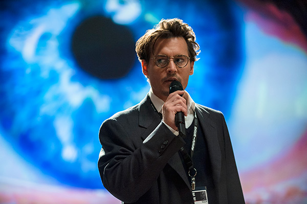 Johnny Depp appears as Will Caster in a scene from the 2014 movie 'Transcendence,' in which he plays a scientist involved in artificial intelligence experiments and becomes a subject after he is targeted in a terrorist attack by an anti-technology group.