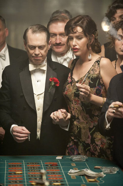 &#39;Boardwalk Empire&#39; is nominated for &#39;Best New Television Series,&#39; it was written by Meg Jackson, Lawrence Konner, Howard Korder, Steve Kornacki, Margaret Nagle, Tim Van Patten, Paul Simms and Terence Winter. It was produced by HBO. &#40;Pictured: Steve Buscemi and Paz de la Huerta in a still from &#39;Boardwalk Empire.&#39;&#41; <span class=meta>(Photo courtesy of HBO)</span>