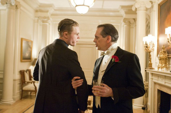 &#39;Boardwalk Empire&#39; is nominated for &#39;Best Drama Television Series,&#39; it was written by Meg Jackson, Lawrence Konner, Howard Korder, Steve Kornacki, Margaret Nagle, Tim Van Patten, Paul Simms and Terence Winter. It was produced by HBO. &#40;Pictured: Steve Buscemi and Michael Pitt in a still from &#39;Boardwalk Empire.&#39;&#41; <span class=meta>(Photo courtesy of HBO)</span>
