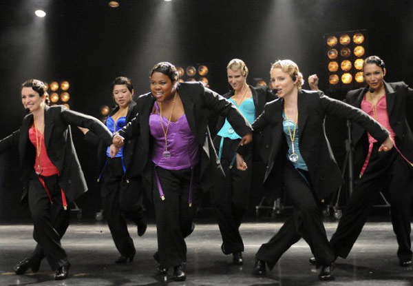 &#39;Glee&#39; is nominated for &#39;Best Comedy Television Series,&#39; it was written by Ian Brennan, Brad Falchuk and Ryan Murphy. It was produced by Fox. &#40;Pictured: Lea Michele, Naya Rivera, Dianna Agron, Jenna Ushkowitz and Amber Riley in a still from &#39;Glee.&#39;&#41; <span class=meta>(Photo courtesy of Fox)</span>