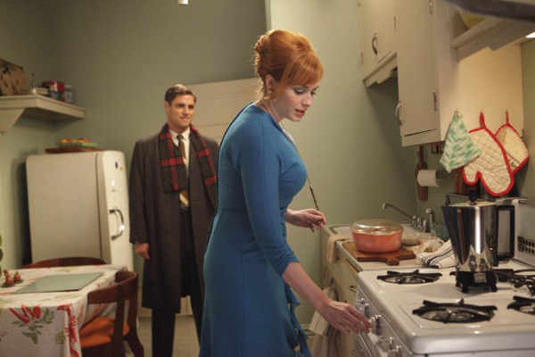 &#39;Mad Men&#39; is nominated for &#39;Best Drama Television Series,&#39; it was written by Jonathan Abrahams, Lisa Albert, Keith Huff, Jonathan Igla, Andre Jacquemetton, Maria Jacquemetton, Brett Johnson, Janet Leahy, Erin Levy, Tracy McMillan, Dahvi Waller and Matthew Weiner. It was produced by AMC. &#40;Pictured: Christina Hendricks and Sam Page in a still from &#39;Mad Men.&#39;&#41; <span class=meta>(Photo courtesy of AMC)</span>
