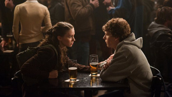 &#39;The Social Network&#39; is nominated for &#39;Best Adapted Screenplay,&#39; it was written by Aaron Sorkin and was based on the book &#39;The Accidental Billionaires&#39; by Ben Mezrich; Sony Pictures. &#40;Pictured: Jesse Eisenberg and Rooney Mara in a still from &#39;The Social Network.&#39;&#41; <span class=meta>(Photo courtesy of Columbia TriStar)</span>