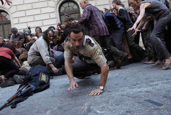 &#39;The Walking Dead&#39; is nominated for &#39;Best New Television Series,&#39; it was written by Frank Darabont; Charles H. Eglee, Adam Fierro, Robert Kirkman, Jack LoGiudice and Glen Mazzara. It was produced by AMC. &#40;Pictured: Andrew Lincoln in a still from &#39;The Walking Dead.&#39;&#41; <span class=meta>(Photo courtesy of AMC)</span>