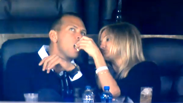 "<div class=""meta image-caption""><div class=""origin-logo origin-image ""><span></span></div><span class=""caption-text"">Cameron Diaz and Alex Rodriguez, a player for the New York Yankees baseball team, began dating in late 2010. As of June 24, 2011, they are still together.  'I grew up with the Dodgers, but now I'm a Yankees fan,' Diaz told Harpar's Bazaar magazine in July 2010. Diaz was captured on television cameras feeding popcorn to Rodriguez at the Super Bowl football championship in February 2011. She said on 'The Late Show With David Letterman in June 2011: 'We were watching the game, and I was eating, and I was getting down to, like, the last couple pieces of popcorn. And all of a sudden, I see a hand coming in. And I'm like, anybody who knows me does not put their hand in my food, especially when it's close to my mouth.'   'And I said, 'What are you ? it's mine!' And then I went, 'You know what? I love you too much. I'm going to give it to you. You deserve it.' And it was the only piece of popcorn that I even put near his face, and they happened to have the camera on right when I did it,' she said.  (Pictured: Cameron Diaz is seen feeding popcorn to Alex Rodriguez at the Super Bowl football championship in February 2011.) (YouTube / FOX)</span></div>"