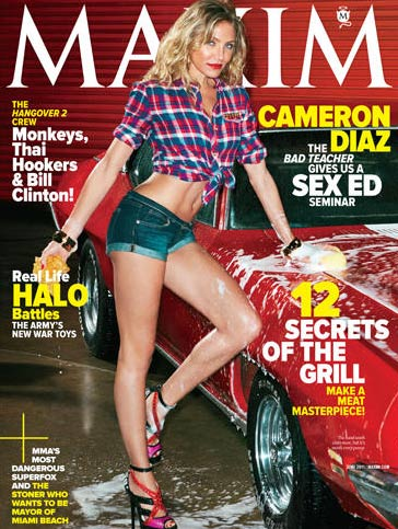 Cameron Diaz told Maxim magazine&#39;s June 2011 Issue that she has been caught smoking pot in a car before, saying: &#39;I&#39;ve definitely been like, &#39;Throw it out! Throw it out!&#39; &#40;Pictured: Cameron Diaz appears on the cover of Maxim magazine&#39;s June 2011 issue.&#41; <span class=meta>(Maxim magazine)</span>