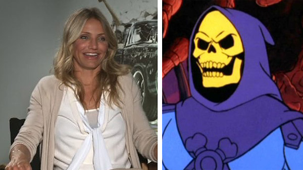 Cameron Diaz speaks to KABC Television, parent company of OnTheRedCarpet.com, about her 2011 movie 'The Green Hornet' in January 2011. / Skeletor appears in a scene from the 1980s animated series 'He-Man and the Masters of the Universe.'