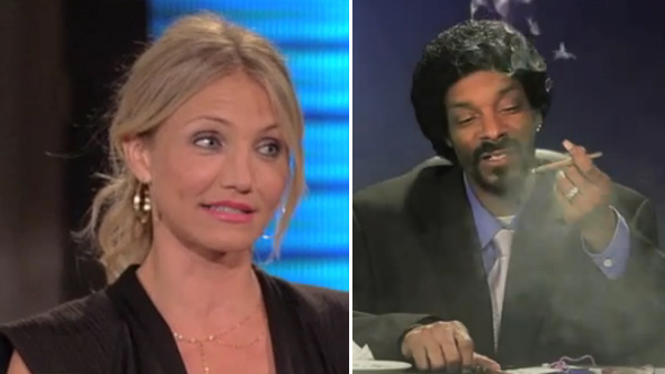 Pictured: Cameron Diaz appears on 'Lopez Tonight' in January 2011. / Snoop Dogg smokes what appears to be a blunt during his webcast 'Double G News Network: Episode 1,' which was posted on YouTube on May 24, 2011.