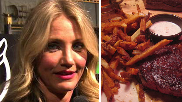 "<div class=""meta image-caption""><div class=""origin-logo origin-image ""><span></span></div><span class=""caption-text"">Cameron Diaz cites rare steak and the 'greasiest french fries she can find' among her favorite foods, People reported in 1998. (Pictured: Cameron Diaz talks to OnTheRedCarpet.com at the Hollywood premiere of 'The Green Hornet' on January 11, 2011.) (OTRC / flickr.com/photos/churl)</span></div>"