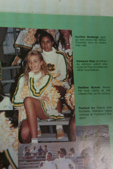 "<div class=""meta ""><span class=""caption-text "">Cameron Diaz graduated from Long Beach Polytechnic High in 1990. During her time in high school, she was a member of the school's 'Polyettes' dance drill team and performed during half-time at football games.(Pictured: Cameron Diaz appears in her cheerleader's uniform in a photo in her high school yearbook.) (Long Beach Polytechnic High)</span></div>"